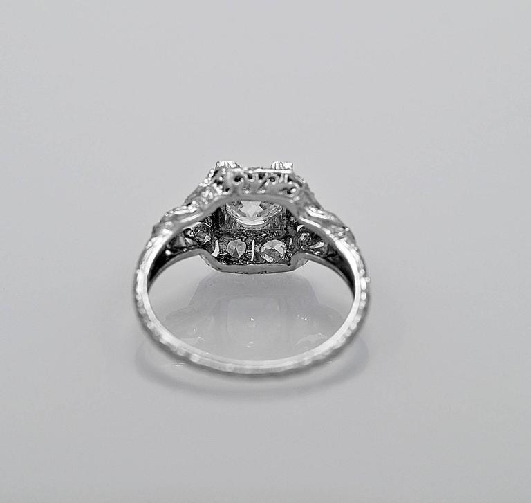 Art Deco .83 Carat Diamond Platinum Engagement Ring For