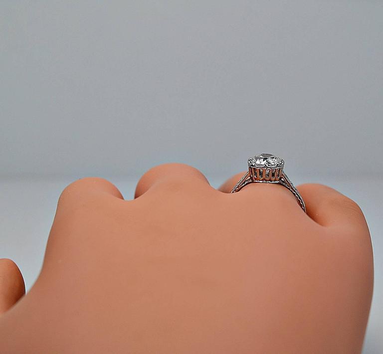 Art Deco 1 53 Carat Diamond Platinum Engagement Ring For