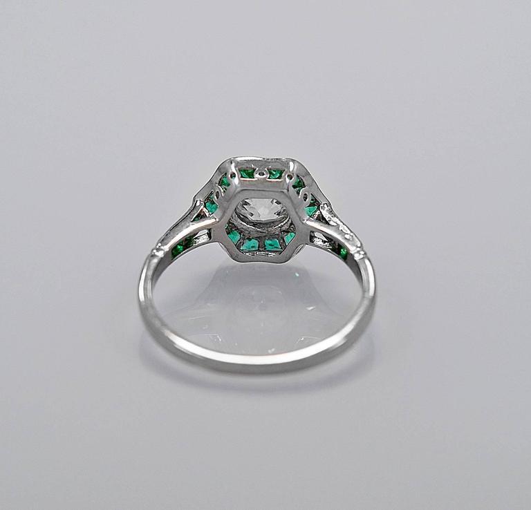 1 00 carat emerald platinum engagement ring at 1stdibs