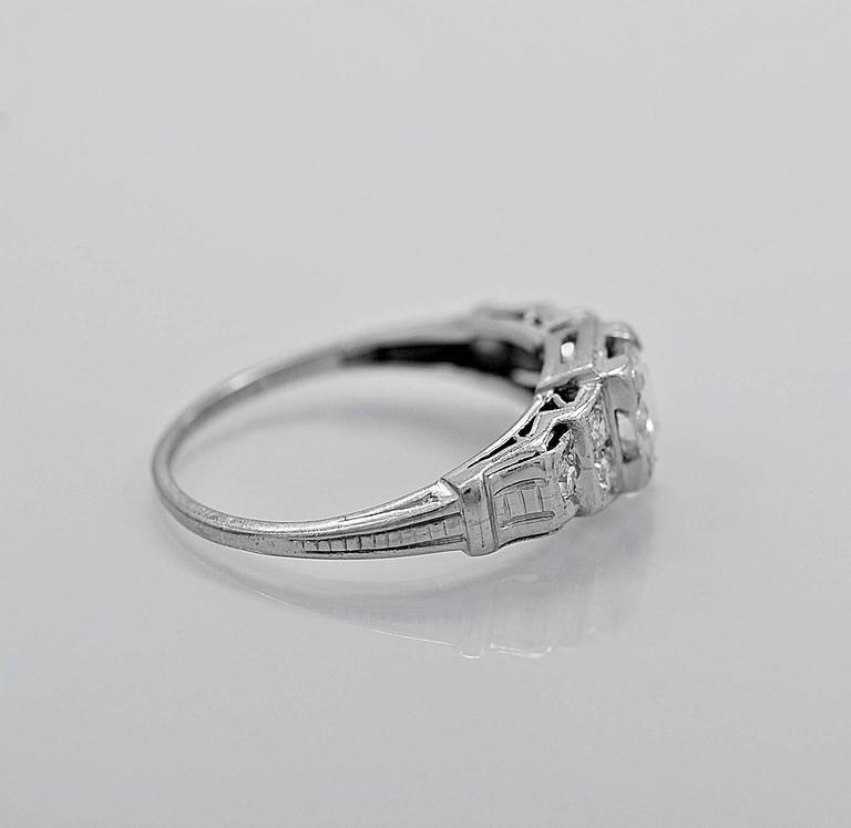 Art Deco .55 Carat Diamond Platinum Engagement Ring For