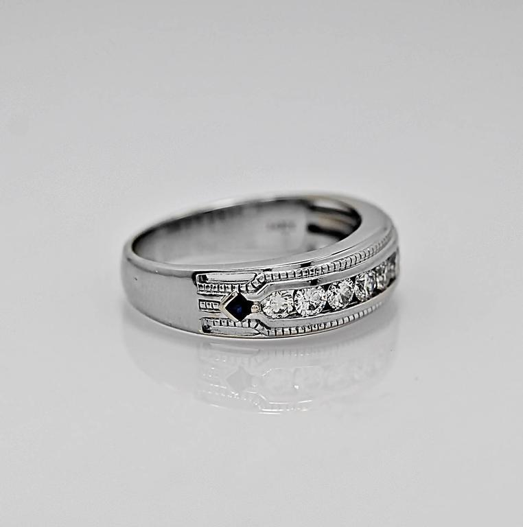 100 Carat Vera Wang Sapphire Diamond Wedding Band Ring at 1stdibs