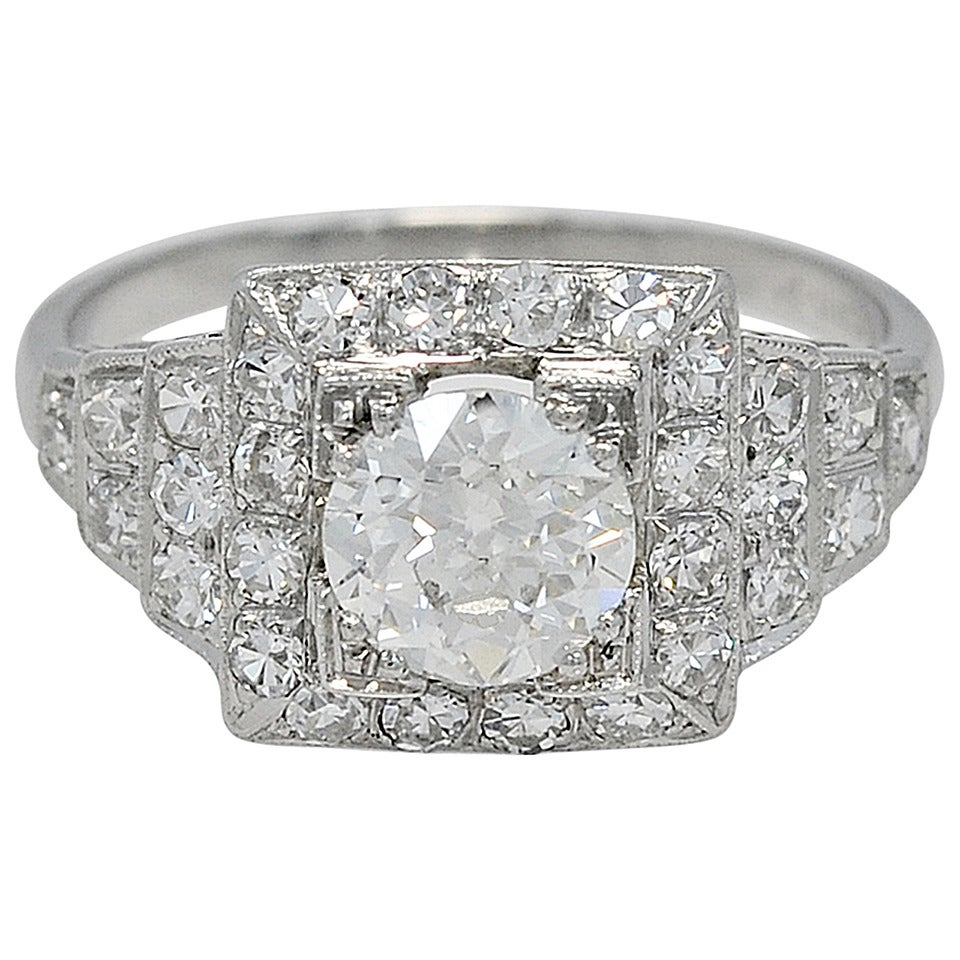 Beautiful Art Deco .94ct. Diamond Platinum Engagement Ring
