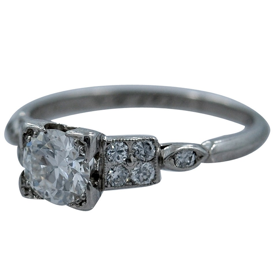 1920s .65 Carat Diamond Platinum Engagement Ring