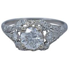 1920s   .84 Carat Diamond Platinum Engagement Ring