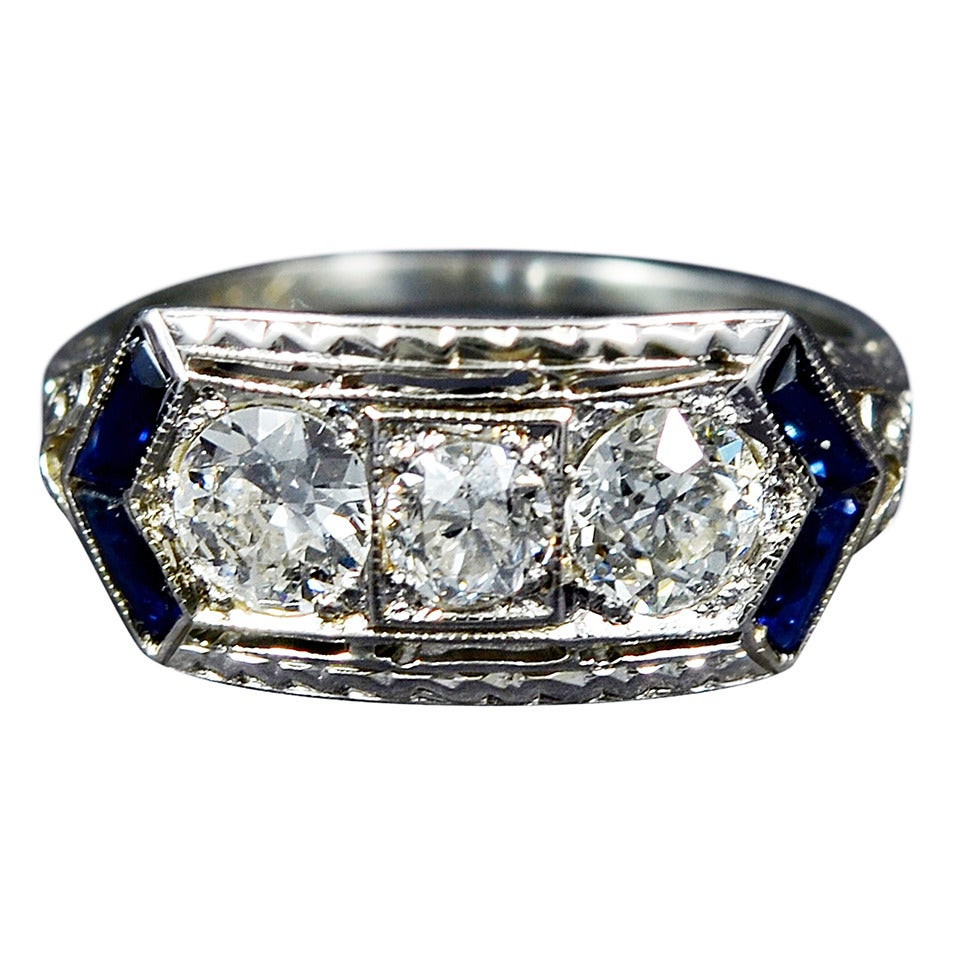 gorgeous deco sapphire gold engagement ring at 1stdibs