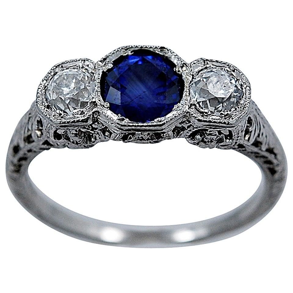 Delightful Art Deco Natural Sapphire Diamond Engagement Ring 1