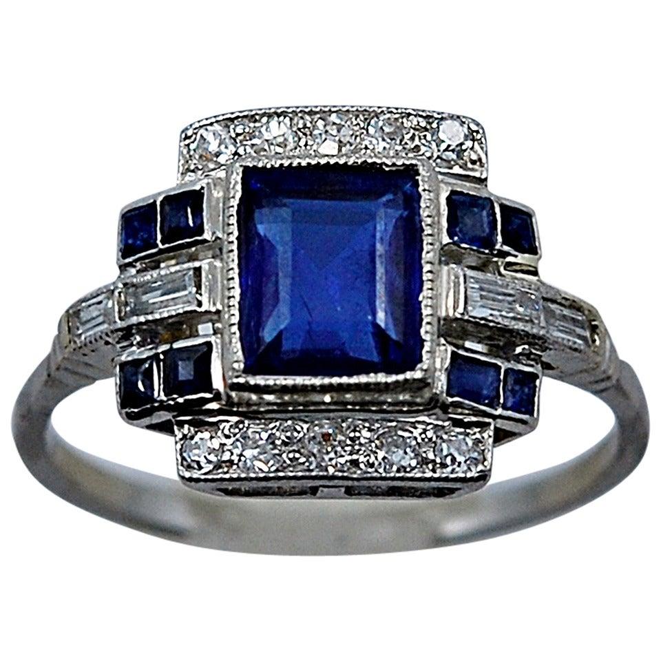 Art Deco Elegant 110 Carat Natural Sapphire Diamond Engagement Ring 1