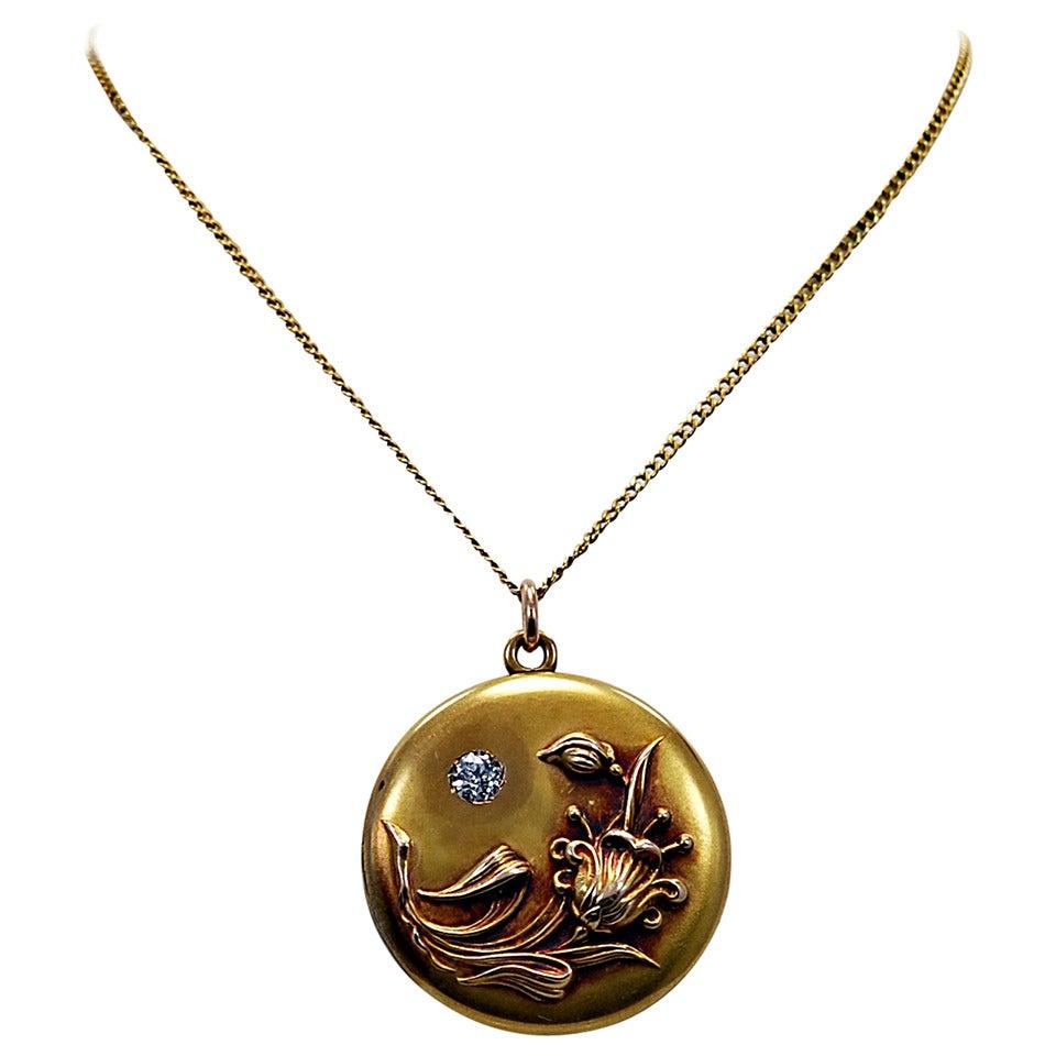 Amazing Art Nouveau Diamond Gold Locket 1