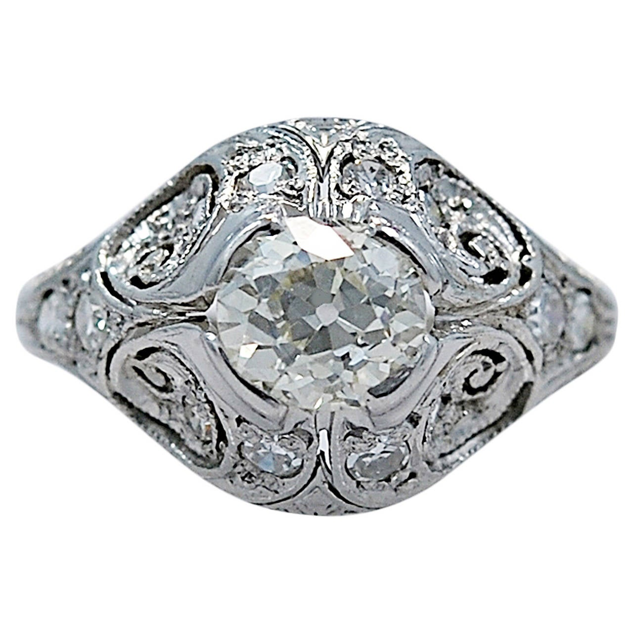 Scrumptious Art Deco .82 Carat Diamond Platinum Engagement Ring