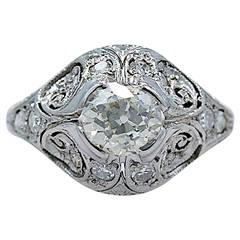 Antique Engagement Ring .82 Carat Diamond & Platinum Art Deco