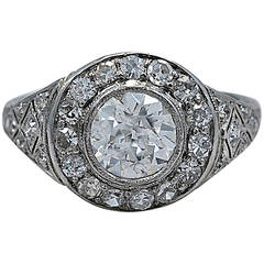 Gorgeous Art Deco 1.02 Carat Diamond Platinum Engagement Ring