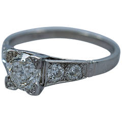 Art Deco 1.21 Carat Diamond Platinum Engagement Ring