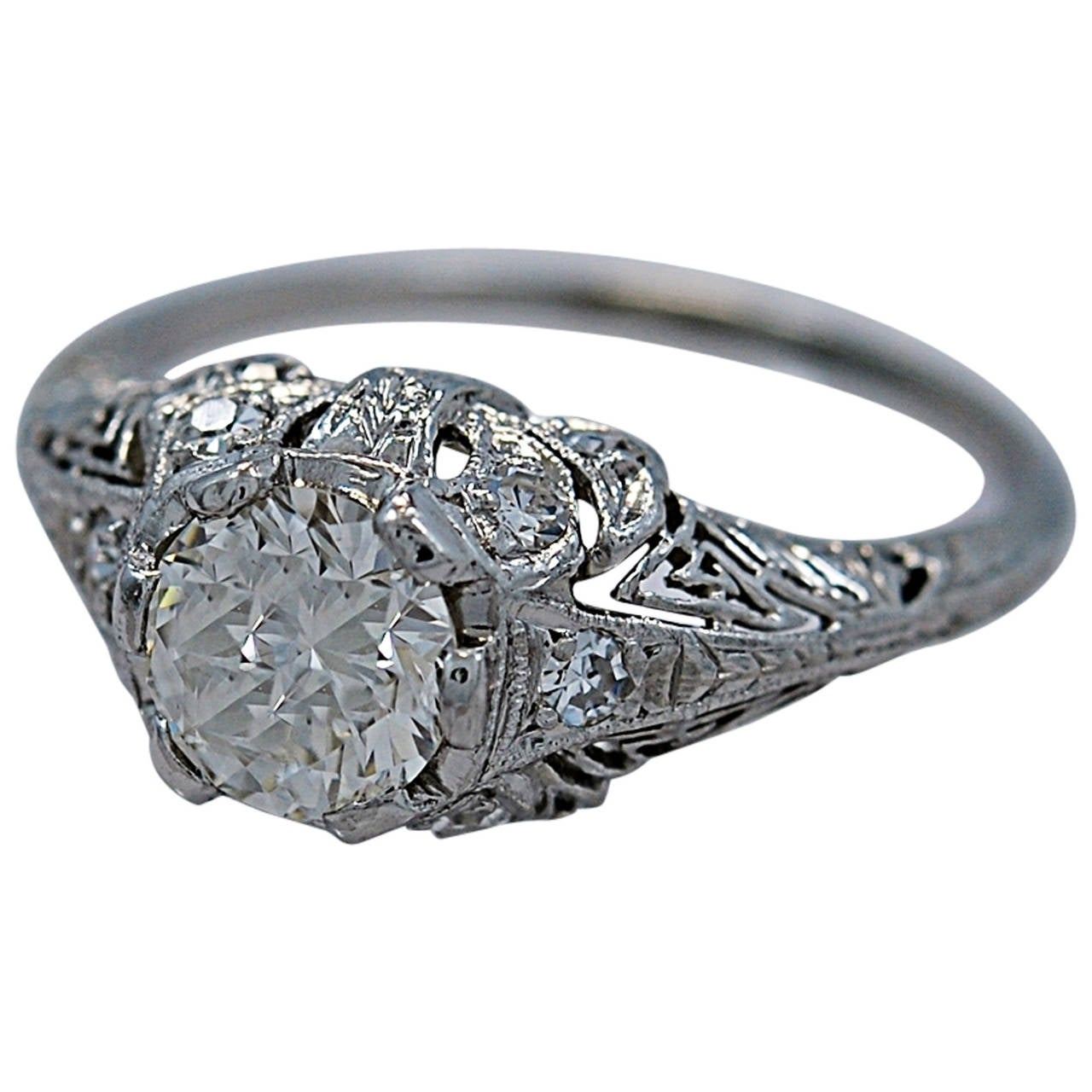 Superb Art Deco Diamond Platinum Engagement Ring 1