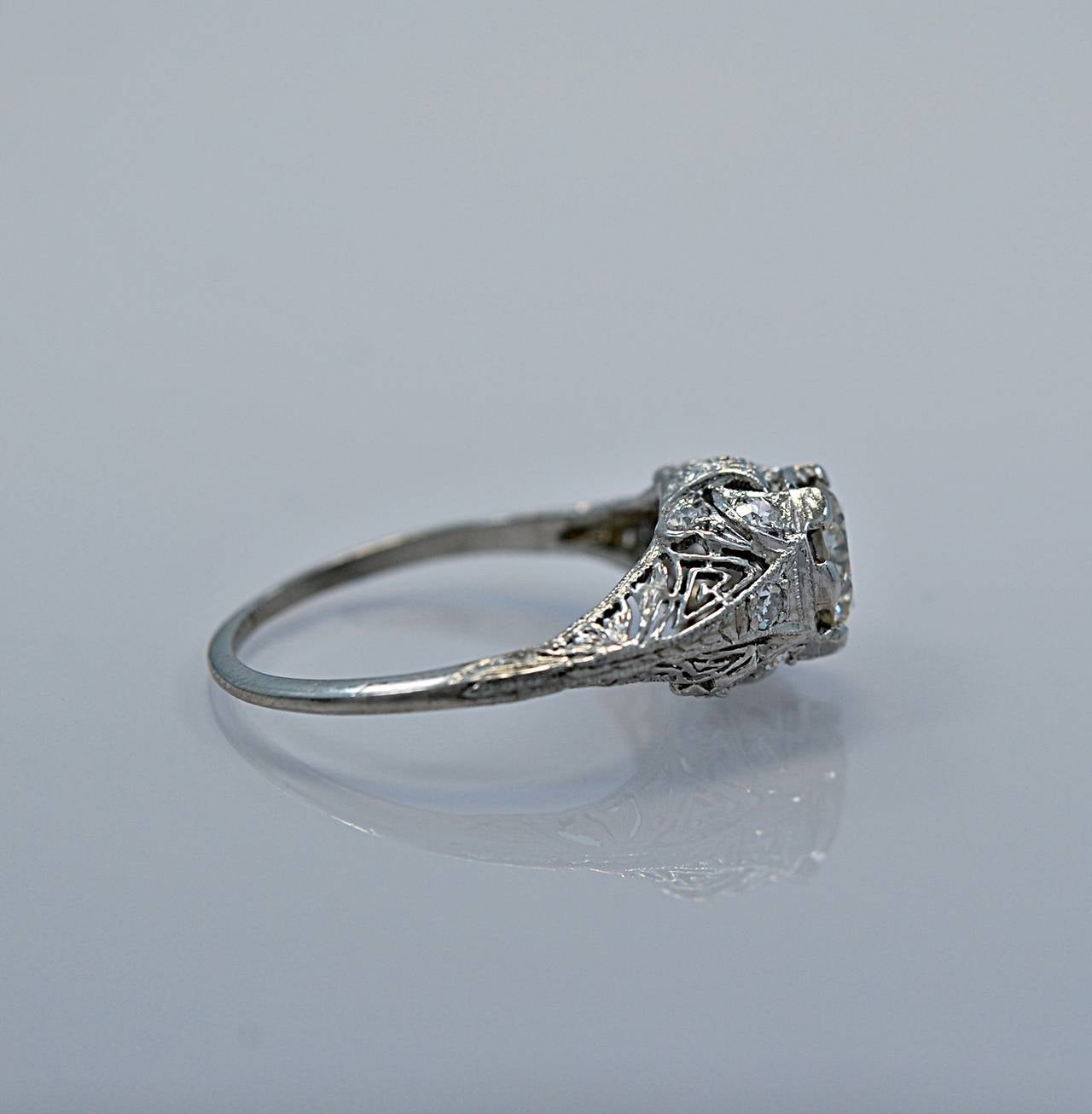 Superb Art Deco Diamond Platinum Engagement Ring 5