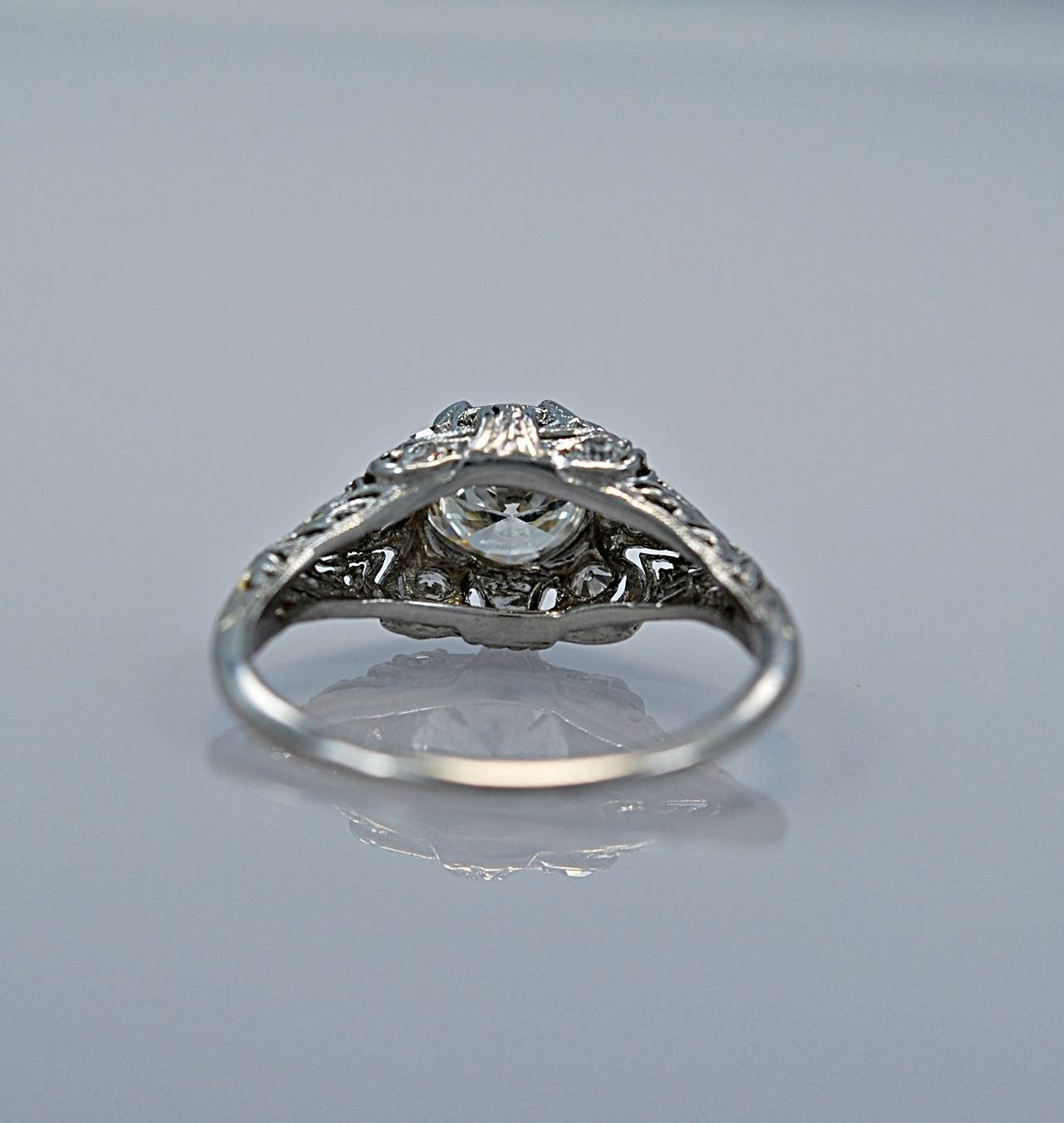 Superb Art Deco Diamond Platinum Engagement Ring 3