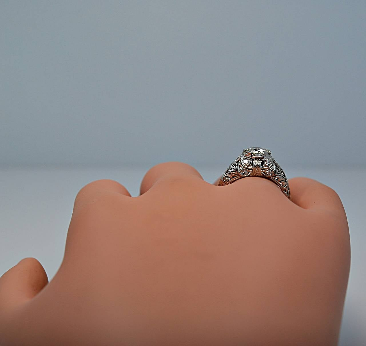 Superb Art Deco Diamond Platinum Engagement Ring 6