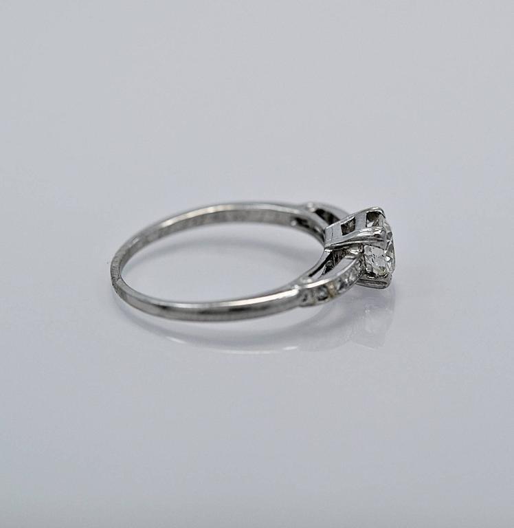 Amazing Art Deco .54 Carat Diamond Platinum Engagement Ring In Excellent Condition For Sale In Tampa, FL