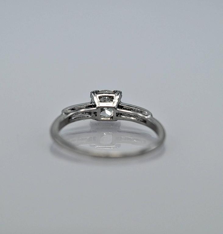 Women's Amazing Art Deco .54 Carat Diamond Platinum Engagement Ring For Sale
