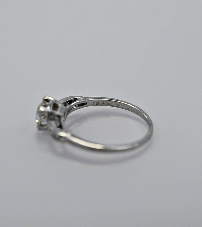 Amazing Art Deco .54 Carat Diamond Platinum Engagement Ring For Sale 1