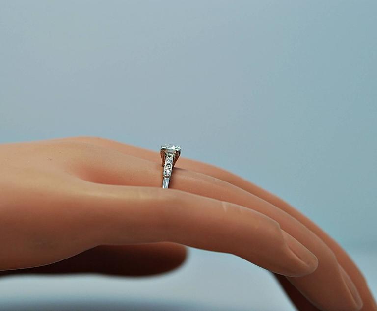 Amazing Art Deco .54 Carat Diamond Platinum Engagement Ring For Sale 3