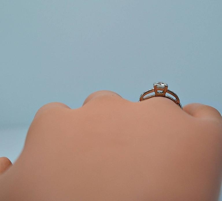 Amazing Art Deco .54 Carat Diamond Platinum Engagement Ring For Sale 4