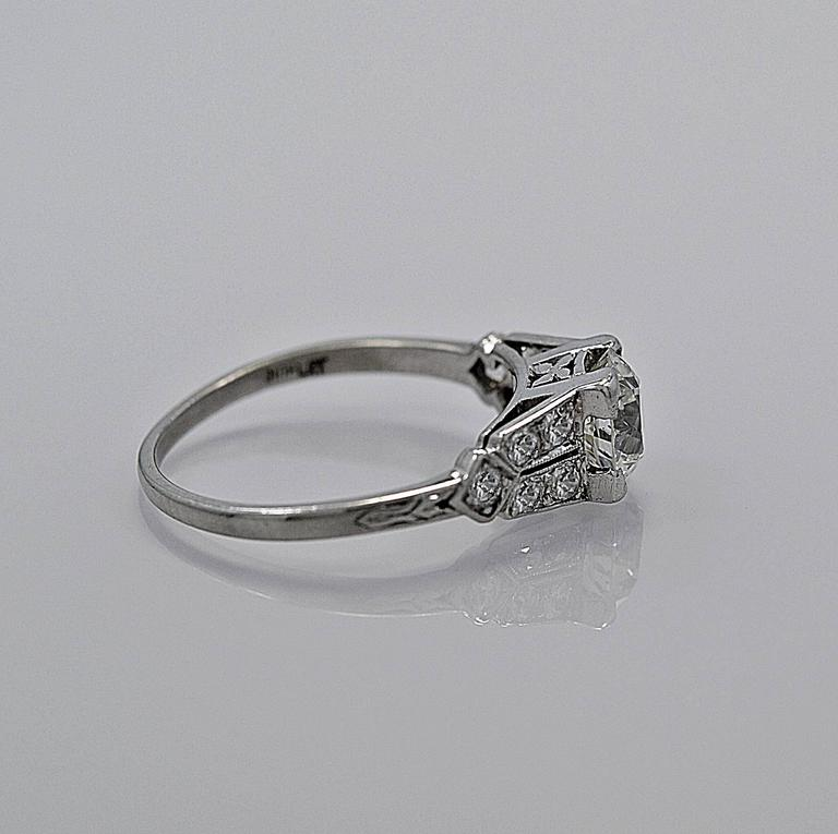 Gorgeous 1.16ct. Diamond Platinum Art Deco Engagement Ring 2