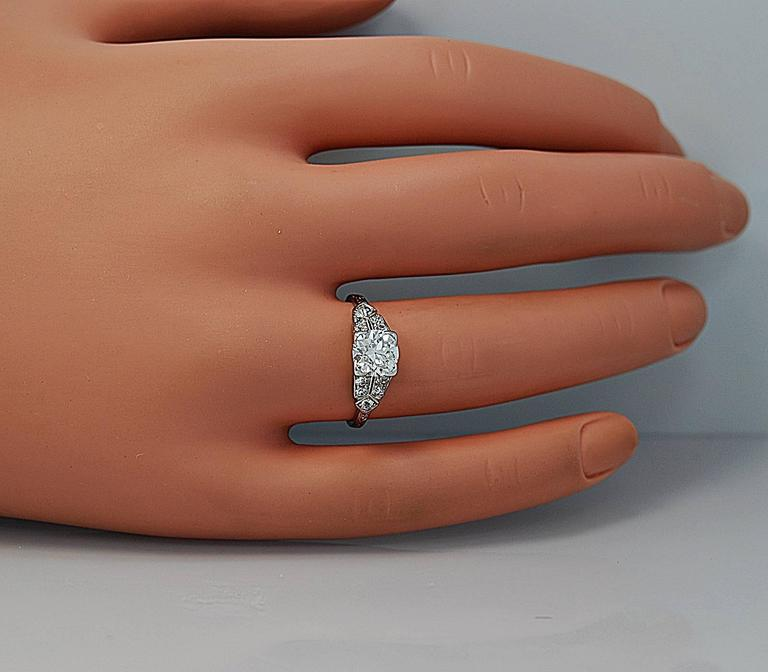 Gorgeous 1.16ct. Diamond Platinum Art Deco Engagement Ring 4