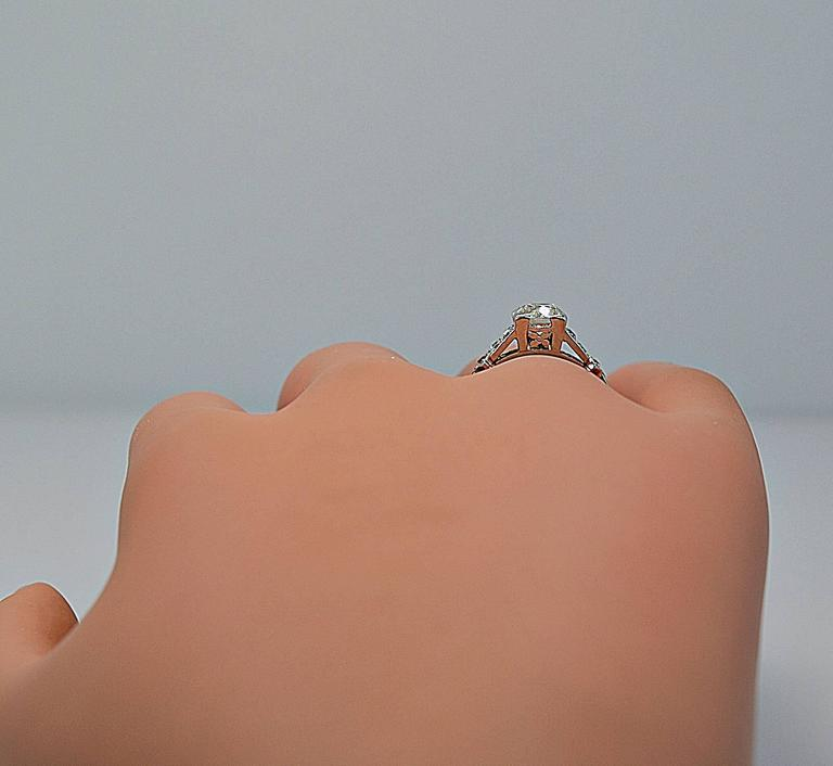 Gorgeous 1.16ct. Diamond Platinum Art Deco Engagement Ring 6