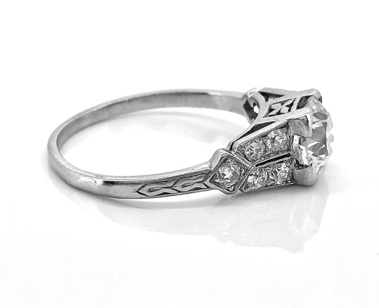 Old European Cut 1.16 Carat Diamond & Platinum Art Deco Antique Engagement Ring For Sale