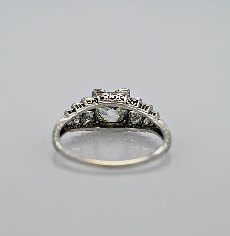 Antique 1 04 Carat Diamond Platinum Engagement Ring For Sale at 1stdibs