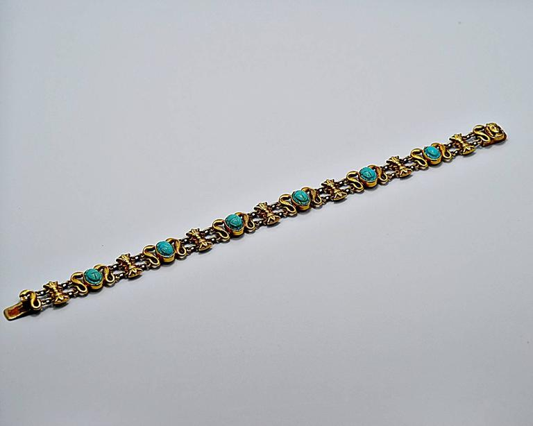 Turquoise Gold Decorative Bracelet For In Our Tampa This Item Retails 4 495 An Art Deco Egyptian Revival Persion