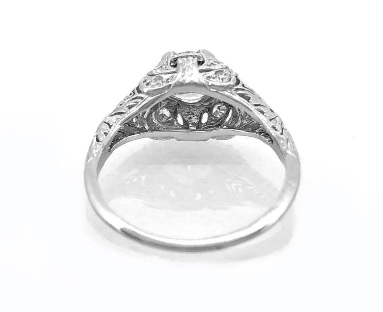 Old European Cut Edwardian .94 Carat Diamond and Platinum Antique Engagement Ring For Sale