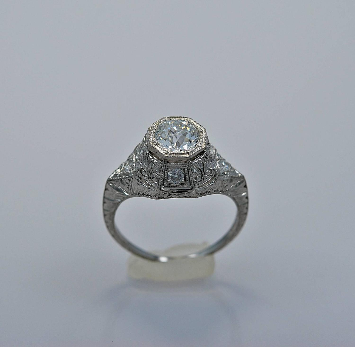 timeless deco platinum engagement ring at 1stdibs