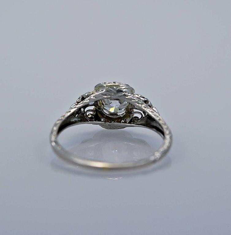 Art Deco Diamond Platinum Engagement Ring 3