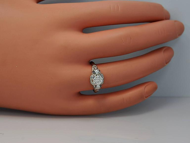Art Deco Diamond Platinum Engagement Ring 4