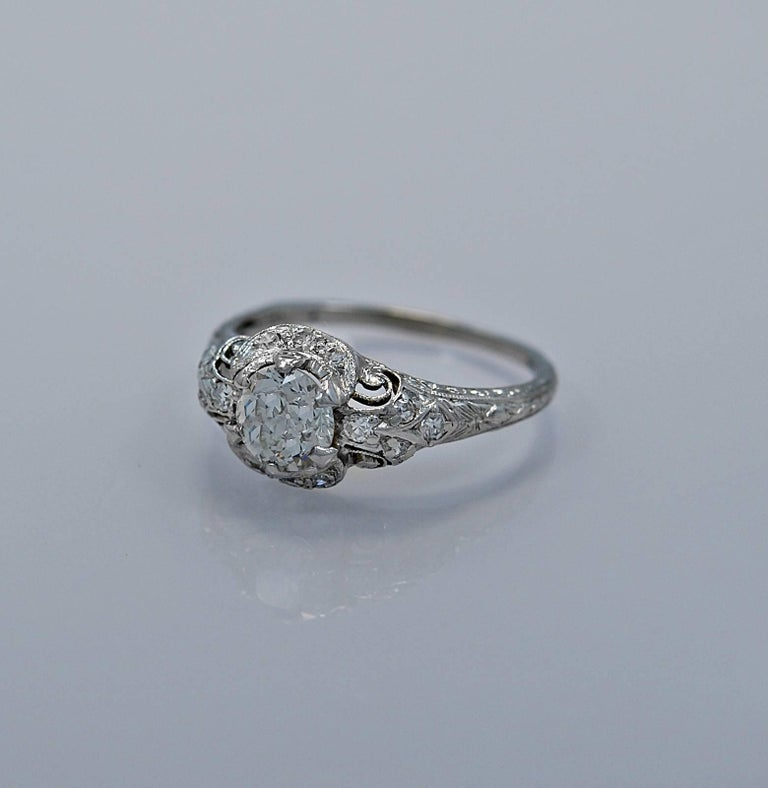 Art Deco Diamond Platinum Engagement Ring 7