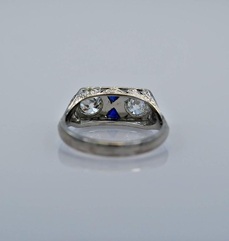 deco sapphire gold engagement ring at 1stdibs