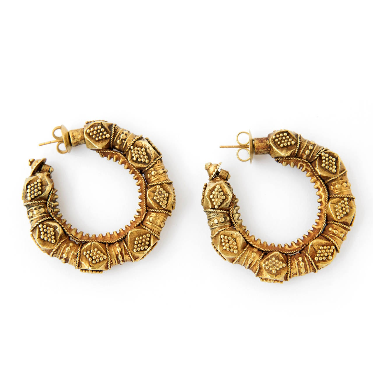 Early 20th Century Indian Kan Kari Gold Hoop Earrings For At