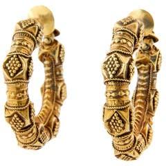 Early 20th Century Indian Kan Kari Gold Hoop Earrings