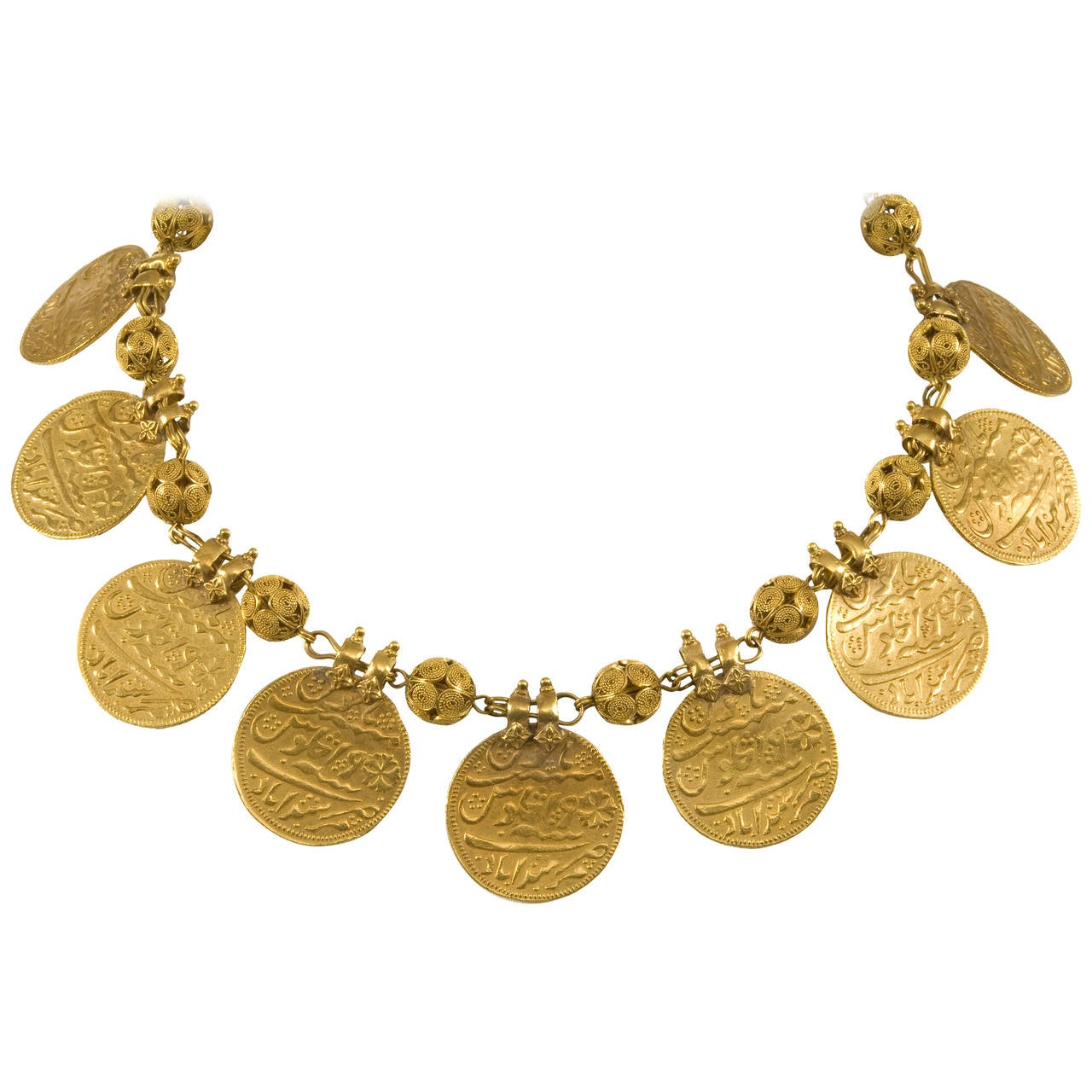 Early 20th Century Indian Kasu Malai Gold Coin Necklace at ...