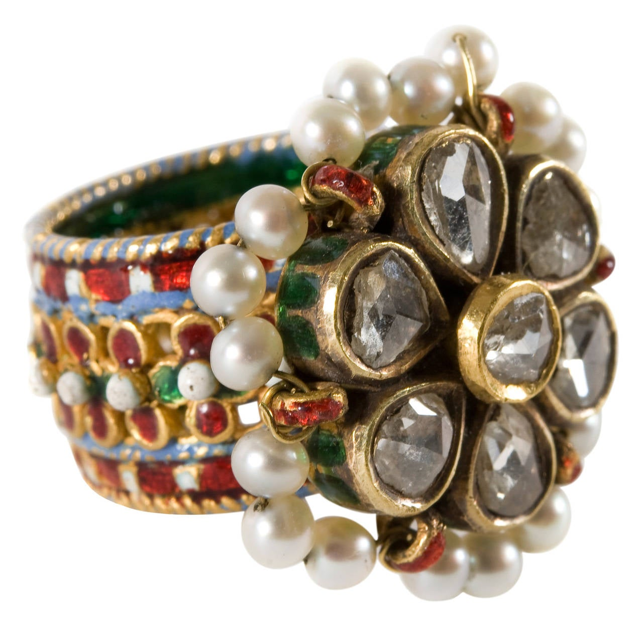 Indian Enamel Pearl Diamond Gold Ring C1900 At 1stdibs