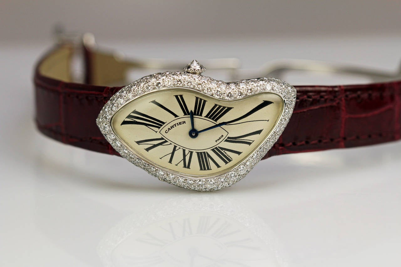 Cartier White Gold Diamond Crash Wristwatch Circa 1990s For Sale 1