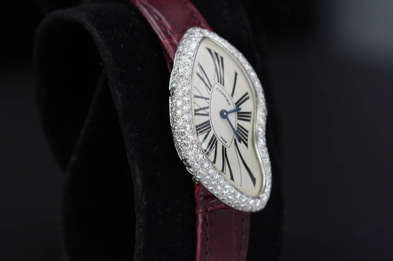 Cartier White Gold Diamond Crash Wristwatch Circa 1990s In Excellent Condition For Sale In Miami Beach, FL