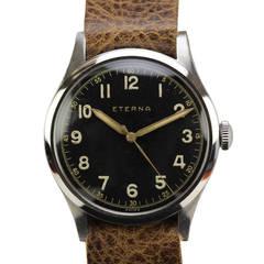 Eterna Stainless Steel Military Wristwatch c. 1950s