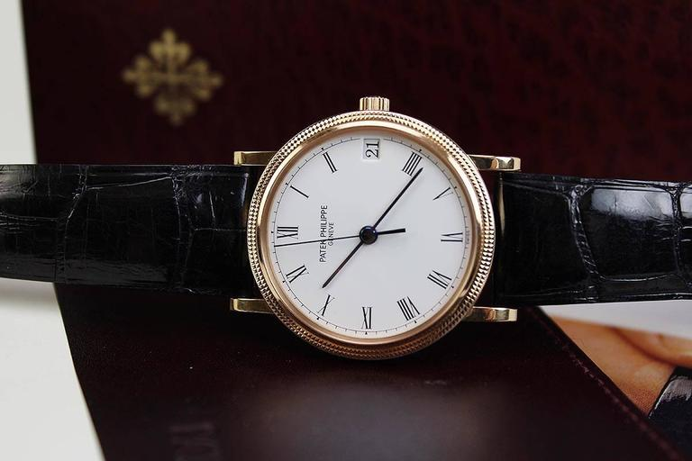 Patek Philippe Rose Gold Calatrava Wristwatch Ref 3802/200R  For Sale 3