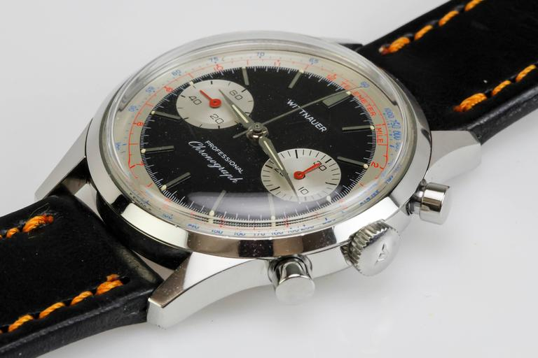 Wittnauer Stainless Steel Professional Chronograph Wristwatch c. 1960's 5