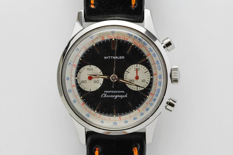 Wittnauer Stainless Steel Professional Chronograph Wristwatch c. 1960's 3
