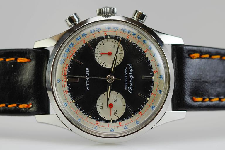 Wittnauer Stainless Steel Professional Chronograph Wristwatch c. 1960's 4
