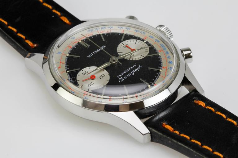 Wittnauer Stainless Steel Professional Chronograph Wristwatch c. 1960's 7