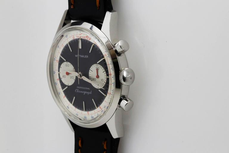 Wittnauer Stainless Steel Professional Chronograph Wristwatch c. 1960's 8
